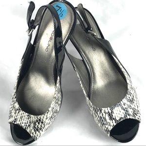 BANDOLINO slingback snake heel pump patent 7.5